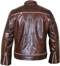 Cafe Racer Biker Copper Classic Distressed Brown White Stripes Leather Jacket image 4