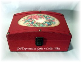 RED FAUX LEATHER CHRISTMAS MINI TRUNK/CHEST/GIFT BOX - $12.95