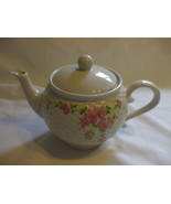 White PorcelainTeapot With Pink Flower Motifs Holds 3.5 Cups Liquid - $49.49