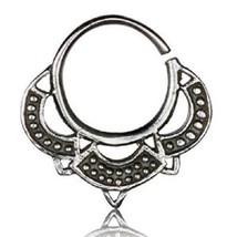 925 SILVER ORNATE TRIBAL OPEN RING ~ TRAGUS EAR SEPTUM ~ 0.8mm 20g - SVTR9 - $6.50