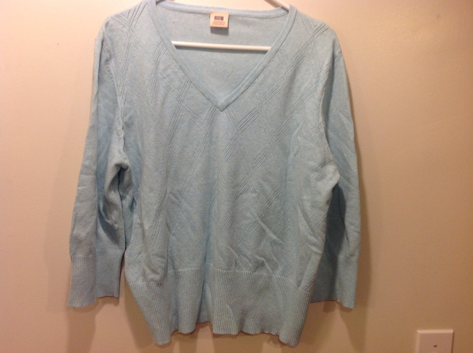 Faded Glory Originals Vintage V-Neck Baby Blue Long Sleeve Sweater