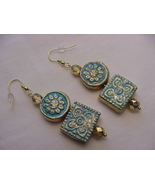 Unique Creations/Ozarks Turquoise/Gold Floral Aztec Tiles Drop Earrings - $18.00
