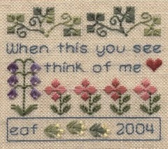 Think Of Me SC07 mini cross stitch chart Elizabeth's Designs  - $4.00
