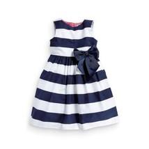 Baby Kid Girls Sleeveless One Piece Dress Blue Striped Bowknot Tutu Dresses - $12.28+