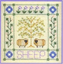 Two Sheep SC12 mini cross stitch chart Elizabeth's Designs  - $4.00