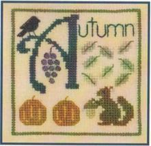 A is for Autumn SC13 mini cross stitch chart Elizabeth's Designs  - $4.00