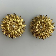 Joan Rivers Sunflower Clip On Earrings Gold Tone Clear Rhinestone Flower Signed  - $29.65