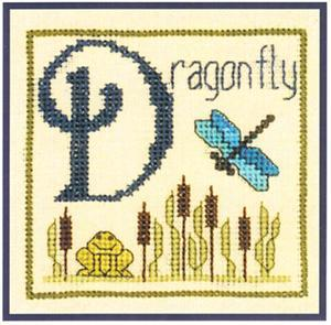 Primary image for D is for Dragonfly SC16 mini cross stitch chart Elizabeth's Designs