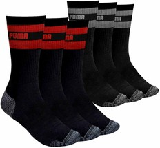 Puma Men's 6 Pack Sportstyle Crew Gym Mesh Ventilated Striped Black Socks