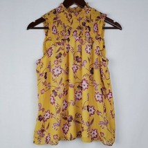 Pink Rose Womens Blouse S Yellow Pink Floral Sleeveless Smocked Career O... - $14.99