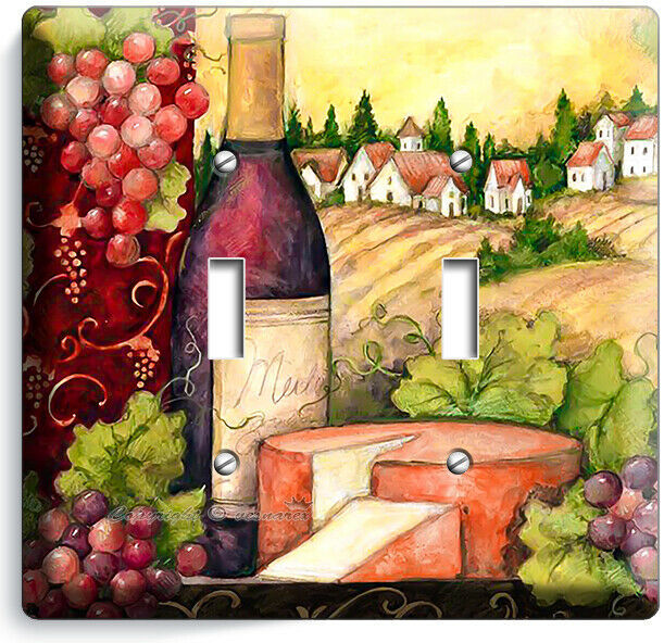 TUSCAN COUNTRY VINE BOTTLE CHEESE GRAPES 2 GANG LIGHT SWITCH PLATE KITCHEN DECOR