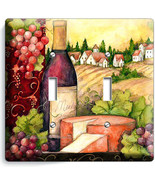 TUSCAN COUNTRY VINE BOTTLE CHEESE GRAPES 2 GANG LIGHT SWITCH PLATE KITCH... - $11.69