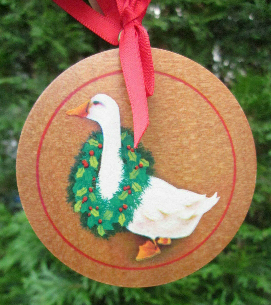 "Hallmark Cards Hardwood Christmas Ornament 1985 Goose Duck Wearing Wreath 3"" - $4.75"