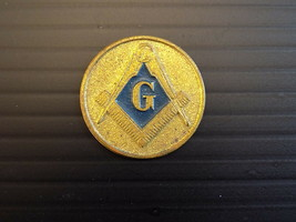 Vintage GOLD TONE MASONIC TOKEN Round Compass and Ruler Emblem - $8.90