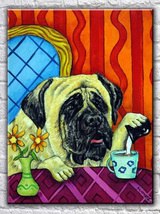animal Art oil painting printed on canvas home decor mastiff dog - $14.99
