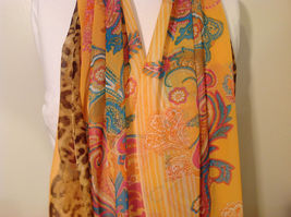 Paisley, Lines, Leopard Print Summer Sheer Fabric Multicolor Scarf, 6 colors image 10