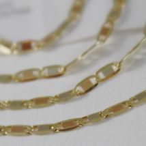 18K YELLOW WHITE ROSE GOLD FLAT BRIGHT OVAL CHAIN 16 INCHES, 2 MM MADE IN ITALY  image 3