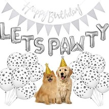 Dog Birthday Party Supplies, Lets Pawty Balloons Banner,Paw Print Balloo... - $19.27