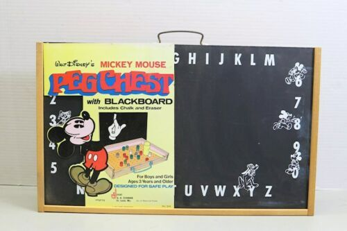Rare Unused Vintage Disney Mickey Mouse Peg Chest Blackboard USA Made Schwab