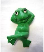 Miniature Lounging Green Frog Ceramic - $9.99