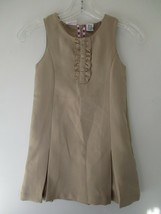 IZOD School Wear Girl's Medium 5 Solid Khaki Beige Sleeveless Dress - $20.80