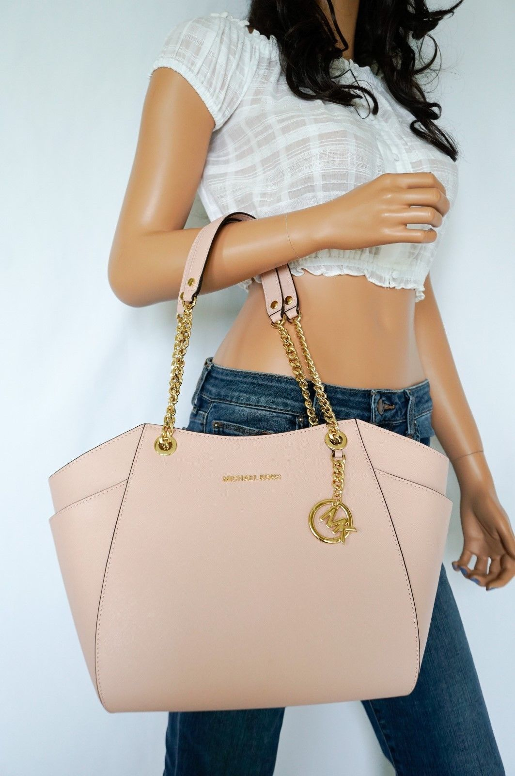 87b251cf72e9 57. 57. Previous. MICHAEL KORS JET SET TRAVEL LARGE SHOULDER CHAIN LEATHER  TOTE BAG PASTEL PINK