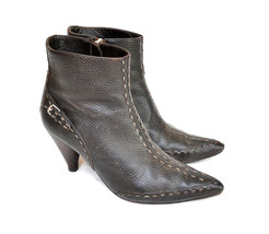 Fendi Selleria Dark Brown Leather Ankle Boots With Buckles / US 6.5 - EU 37 - $163.35
