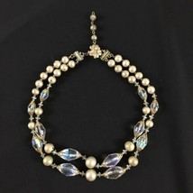 Costume Choker Necklace Glass Iridescent Beads Plastic Pearls Double Str... - $23.36