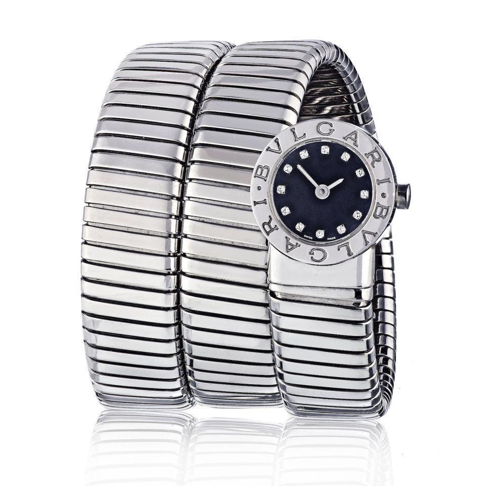 Primary image for Bvlgari Tubogas Stainless Steel Diamond Dial Watch