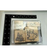 """2006 Stampin' Up Set of 4 """"A Merry Little Christmas"""" Wood Mounted Rubber - $12.62"""