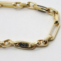 18k yellow gold bracelet 750, tubes and alternating oval, with black zirconia image 3