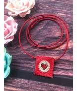Heart Necklace Pouch - Handmade Small Pendant Crystal Gemstone Prayer Ca... - $20.69