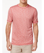NEW MENS TASSO ELBA ISLAND UPF SUN PROTECT SPACE-DYED STRIPED RED T SHIR... - $9.89
