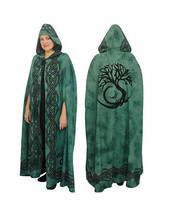 Cotton Cloak - Tree of Life - Green | Witchcraft | Pagan | LARP | Rolepl... - $49.50