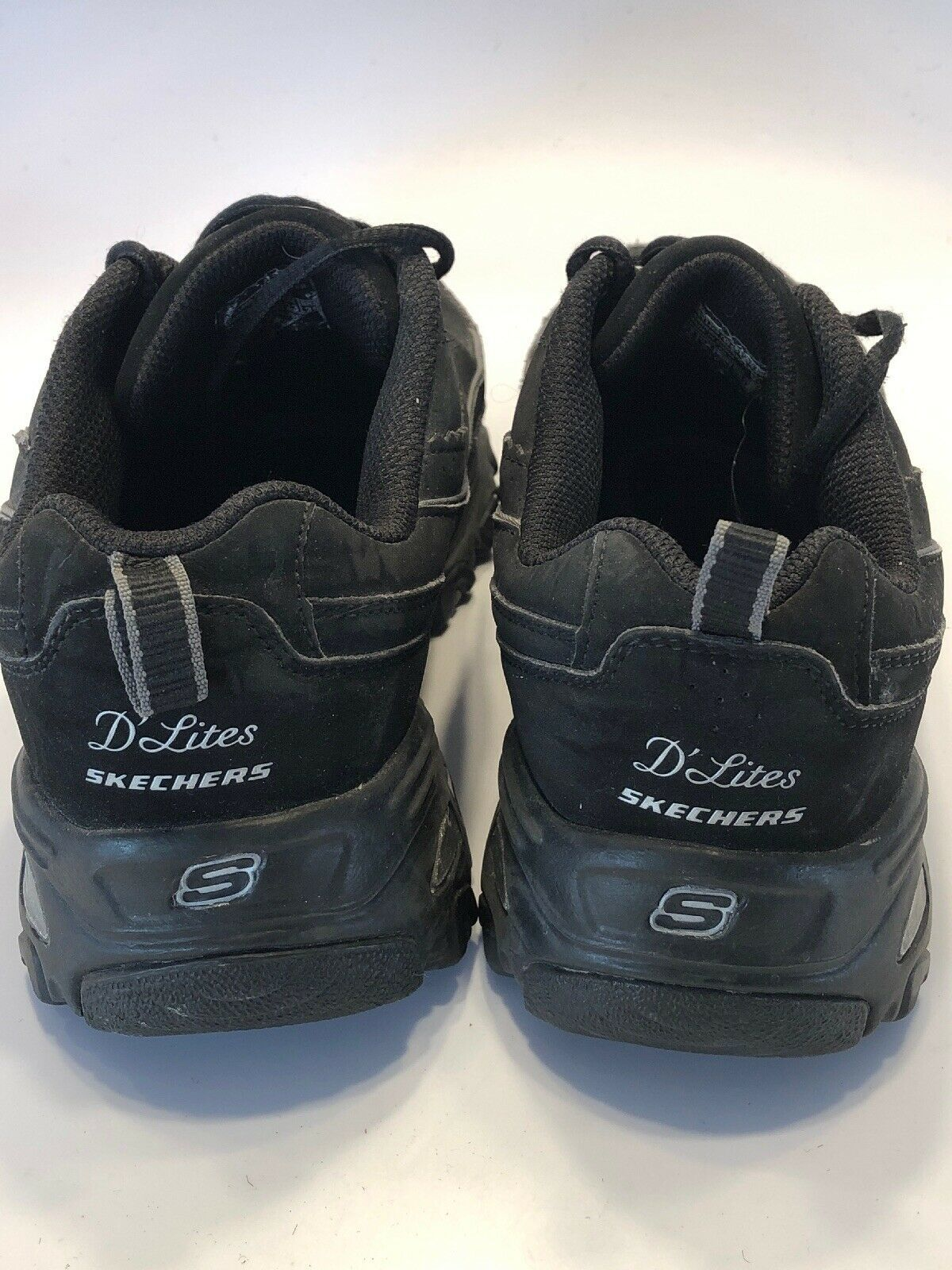Women's Size 6 Skechers Sport D'Lites Black Leather 11469 Lace Up Shoes Sneakers