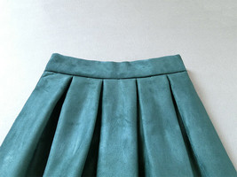 Women Suede Pleated Skirt High Waist Pleated Party Skirt DARK GREEN Suede Skirt image 5