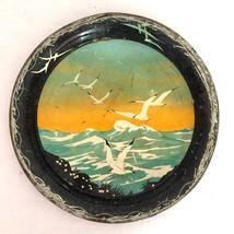 """Tray Seagull Ocean Shore Birds Vtg Metal Serving 11.5"""" Mid Century Shabby - $16.42"""