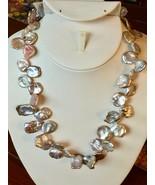 "Lavender Keshi Pearl Necklace 18"" Freshwater Multi-color silver baroque ... - $48.96"