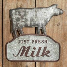 Primitive FRESH MILK METAL SIGN PLAQUE Rustic Farmhouse Vintage Retro Da... - $45.99