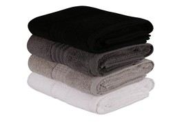 Decorotika 100% Cotton Hand Towels Set of 4 - Shades of Black - Size- 25... - $24.99