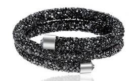 Crystal Double Wrap Bracelet Made with Swarovski Elements Black with Silver - $12.34