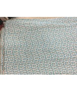Shine by SHO aqua off white greek pattern linen fabric by the yard geome... - $61.88
