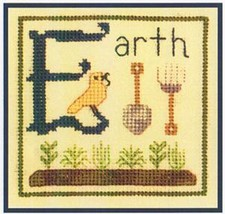 E is for Earth SC17 mini cross stitch chart Elizabeth's Designs  - $4.00