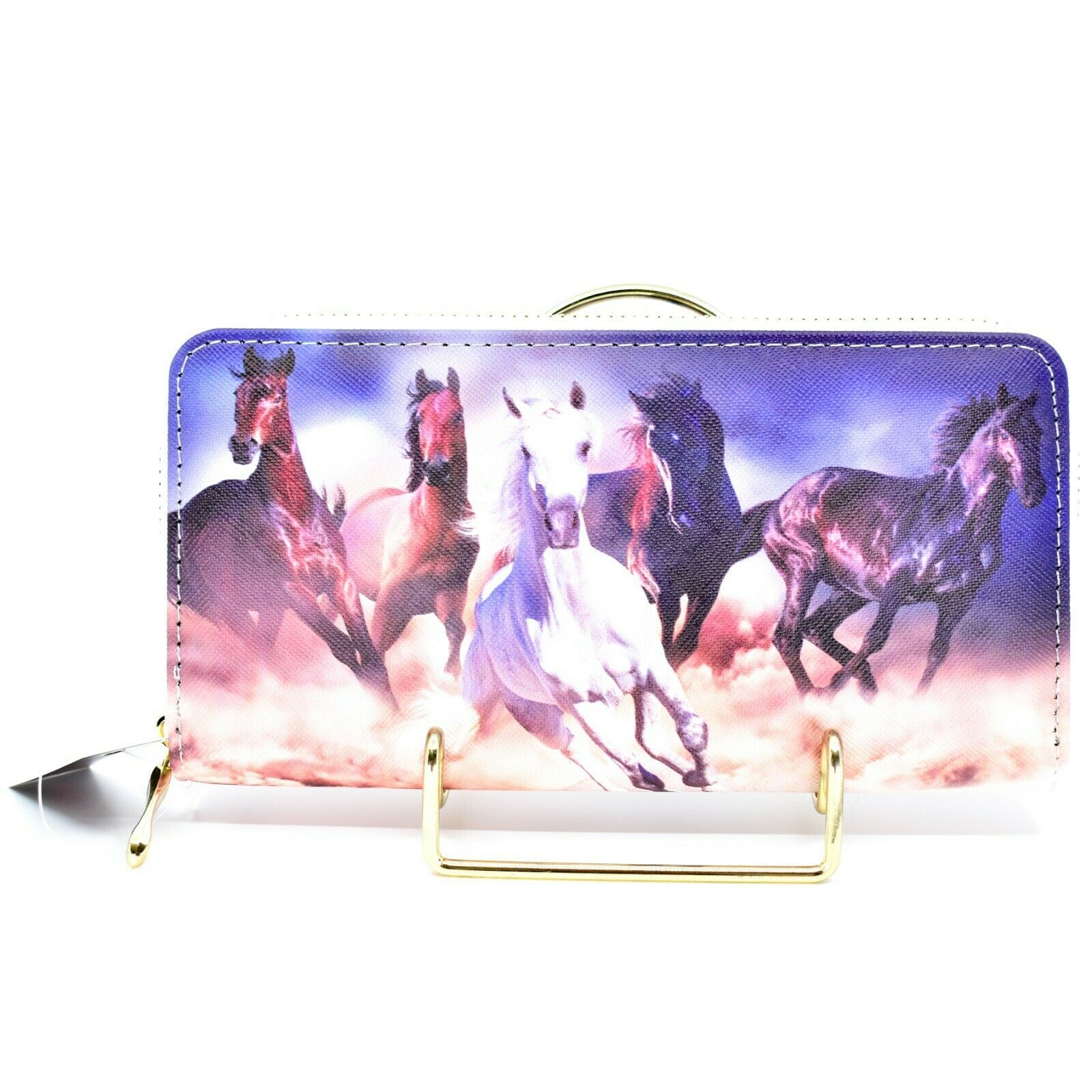 Bijorca Country Western Running Horse Herd Vinyl Clutch Wallet New with Tags
