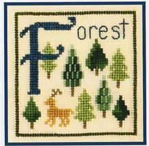 F is for Forest SC18 mini cross stitch chart Elizabeth's Designs  - $4.00