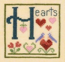 H is for Hearts SC20 mini cross stitch chart Elizabeth's Designs  - $4.00