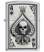 Zippo Lighter - Ace Skull Card Satin Chrome - 853281 - £18.67 GBP