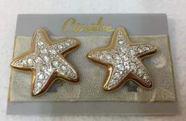 Clip On Earrings Stars Starfish Crystal Rhinestones Gold Tone Carolee Vi... - $14.84