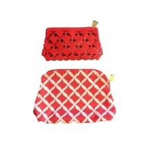 Estee Lauder Women's Makeup Pouch Set of 2 Red Cosmetic Bag - $14.84