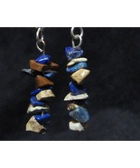 Earthy Natural Jasper / Lapis Earrings Blue and... - $14.99
